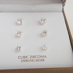 Take 50% off Sterling Silver/CZ Earrings NWT (E89)